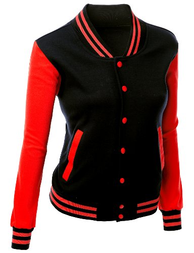 Stylish Fabric Baseball Jacket Black Red XXL