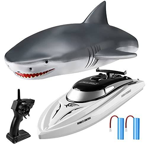 RC Boat Remote Control Boats for Pools and Lakes, Wemfg RH701 15km/h High Speed Mini Boat Toys for Kids Adults Boys Girls Shark