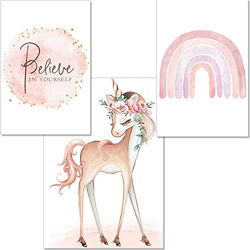 artpin® Einhorn Bilder Kinderzimmer 3er Set Wand Dekoration- A4 Poster Rosa Regenbogen Babyzimmer - Deko Mädchen P57