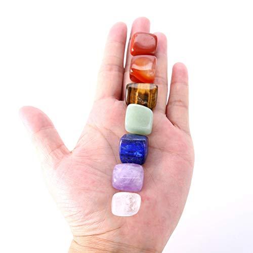 Maritown Juego de 7 Piedras de Chakra Coloridas para curación, Piedra cargada Reiki, Piedras de la Palma de la Mano, Buda de meditación, Juego de Piedras para tumblestone