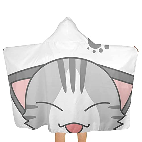 Bingyingne Cute Cat Cartoon Kids Poncho Toallas con Capucha, Toallas de baño de Playa de Secado rápido extragrandes Ultra Suaves con Capucha para niños y niñas