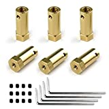 6 Pieces 6mm Flexible Coupling Coupler Connector Hex Coupler for Wheels Tires Shaft Motor with Allen Wrench