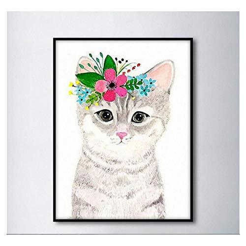 QUNAQ - Lienzo decorativo para pared (40 x 60 cm), diseño de gato nórdico con flores
