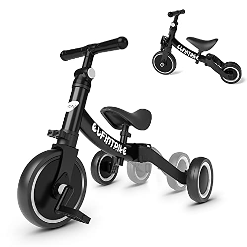 besrey Tricicli 5 in 1 Triciclo per Bambini da 1.5 a 4 Anni,Triciclo Senza Pedali,Bicicletta Senza Pedali,Nero