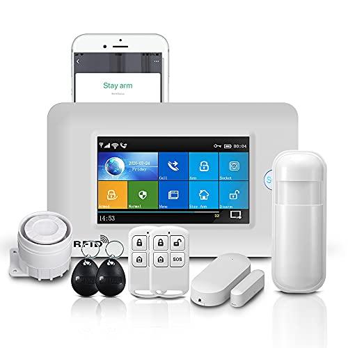 PGST PG-106 inalámbrico GSM y sistema de alarma de seguridad WiFi, kits de seguridad antirrobo RFID para el hogar y el negocio, control remoto de la aplicación de la ayuda, blanco y negro