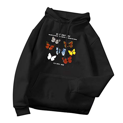 Fly with Hem Pull décontracté pour femme avec imprimé papillon et manches longues - Avec cordon de serrage et poche - Blouse ample (XL, noir)