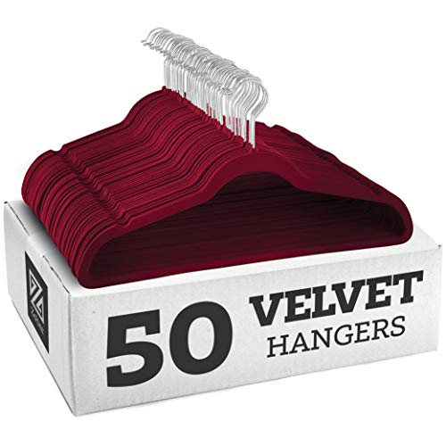 Zober Premium Quality Space Saving Luxurious Velvet Hangers Strong and Durable Hold Up to 10 Lbs - 360 Degree Chrome Swivel Hook - Ultra Thin Non Slip Suit Hangers, Royal Red/Burgundy - 50 Pack