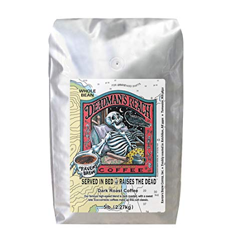 Raven's Brew Coffee Whole Bean Deadman's Reach – Dark Roast – Breakfast Coffee Bliss with an Instant Caffeine Supercharge – Delicious as Espresso – 5lb Bag