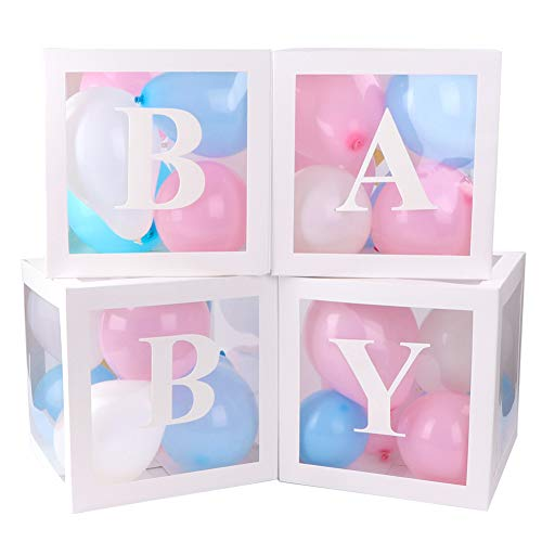 4 cajas de decoración para fiestas de baby shower, cajas de globos transparentes blancas con 30 globos y 29 letras para decoraciones navideñas de fiesta de cumpleaños de baby shower
