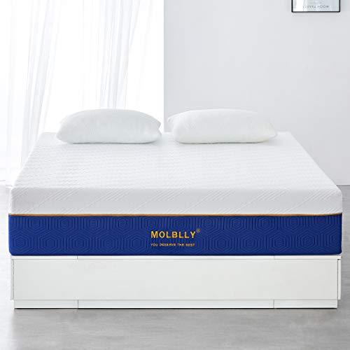 Molblly - Espuma con memoria para colchón | extremadamente duradera | soporte perfecto de la columna vertebral, ultra transpirable, firmeza media, 140 x 190 x 25 cm