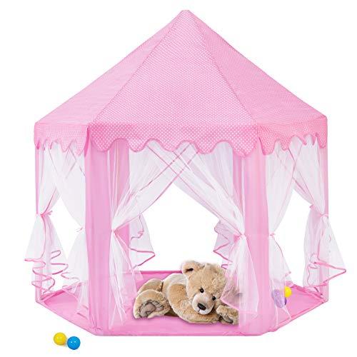 E-More Kinderspielzelt, Mädchen Prinzessin Zelt Innen Draussen Castle Spielzelt Kinder Schloss Zelt Dekoration fürs Kinderzimmer, 140x140x135cm, Rosa