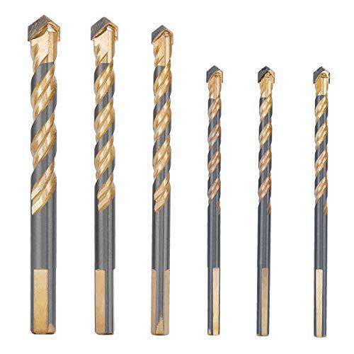 LAOYE 6 Pcs Foret Carrelage Verre 3 x 6mm, 8mm 10mm 12mm Meche Carrelage Ceramique Forets Faience Porcelaine Forage Fraise pour Carrelage Brique de Verre Marbre Miroir Bois Diamant