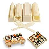 SuShi Maker Kit Profesional - 10 Piezas Kit Completo de fabricación de Sushi DIY Sushi Set para Principiantes, Roll Arroz Rollo Molde, Kit de Sushi Familiar de Bricolaje 10 en 1