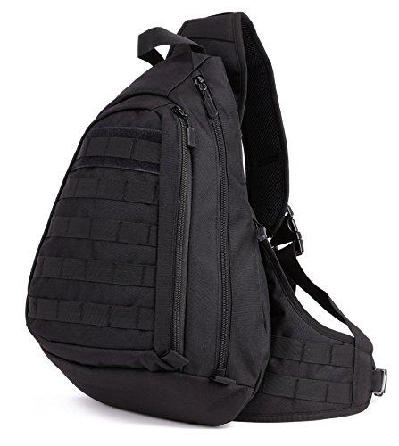 DCCN Rucksack mit einem Gurt Militär Crossbag Sling Rucksack für Radfahren Wandern Camping Schwarz