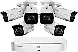 Lorex Weatherproof Indoor/Outdoor Home Wired Surveillance Security System, 4K Ultra HD Cameras w/Night Vision, Advanced Motion Detection & Smart Home Compatibility (6 Pack) –Incl. 2TB 8 Channel HD NVR