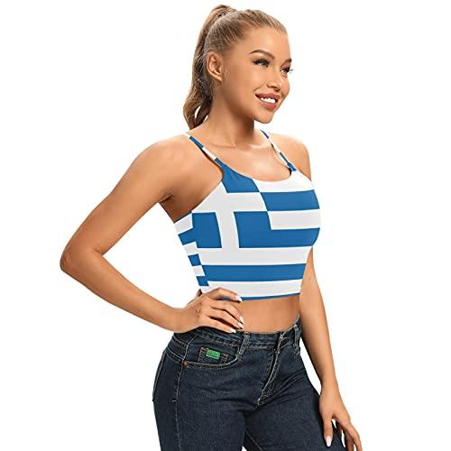 Magnesis Camiseta de tirantes acolchada con diseño de bandera de Grecia