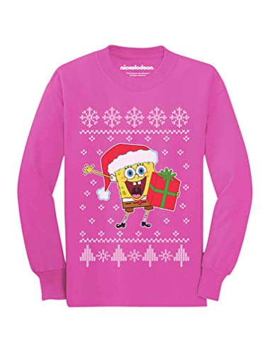 Tstars - Spongebob Santa Ugly Christmas Sweater Toddler/Kids Long Sleeve T-Shirt 4T Pink