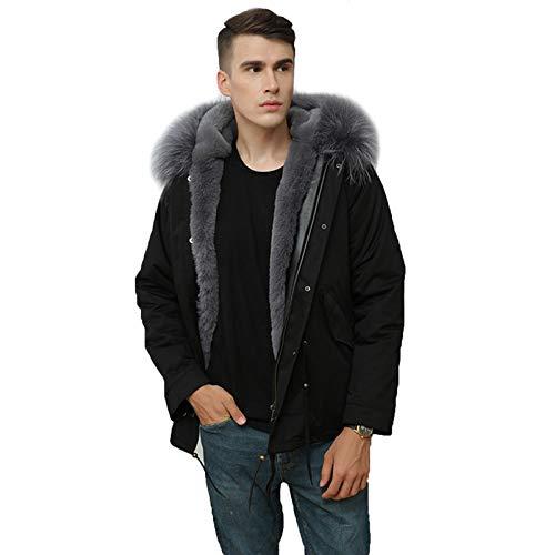 Abrigo de Piel Negro Largo para Hombre Chaqueta de Piel cálida de Moda de Invierno para Hombre Cuello Real Hombre,M