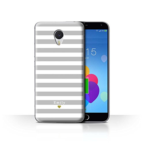 Stuff4 Phone Case/Cover/Skin/mzum3 N/Custom Stripes/Striped Collection Coeur Argent/Gris