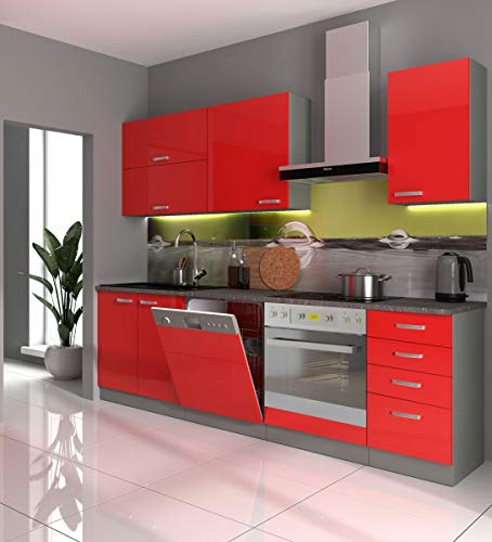 Küche Bianca Basic III 240 Küchenzeile Glanz Rot Küchenblock Einbauküche Rose