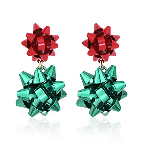CEALXHENY Christmas Earrings for Women Festive Bow Drop Dangle Earrings Gift Stud Earrings Set for Girls (A Red+Green)