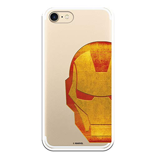 Funda para iPhone 7 - iPhone 8 - iPhone SE 2020 Oficial de Marvel Iron Man Cabeza Transparente para Proteger tu móvil. Carcasa para Apple de Silicona Flexible con Licencia Oficial de Marvel.