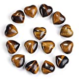 WLXJDJ Black Obsidian Crystal Heart Stone Worry Hearts Anixety Stones Healing Mini Decoration-Tiger Reiki Chakra Pocket Eye per Antistress Home Gemstones Palm Crystal 15pc