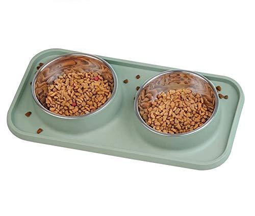 Rmine Futternapf Hundenapf, 2x400ML, Edelstahl, Rutschfester Boden Anti-Überlauf Silikon-Tischset Wasserfest für kleine Mittelgroße Hunde