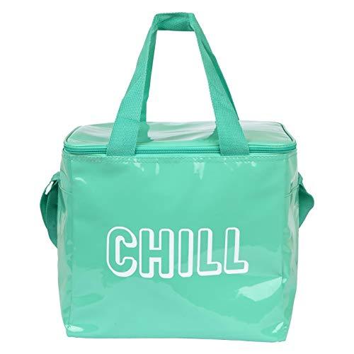 SunnyLIFE Große tragbare isolierte Strandtasche mit Schultergriffen und Reißverschluss an der Oberseite, ideal für unterwegs Neon Turquoise