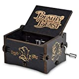 Fezlens Beauty and the Beast Box Music, Wood Hand Crank Laser Engraved Vintage Beauty Musical Box Gifts for Birthday/Christmas/Valentine's Day to Your Lover
