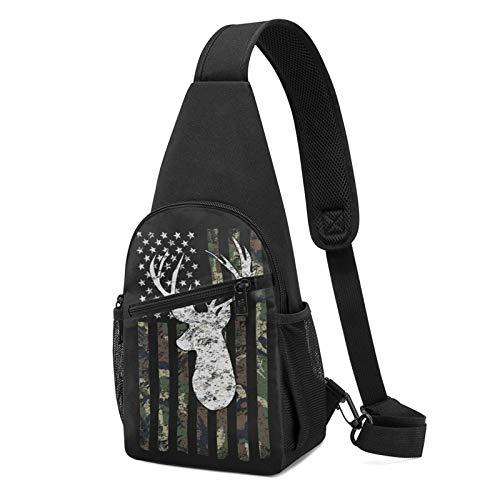 Sling Bag für Herren Anti-Diebstahl Schulterrucksack Leichte Crossbody Outdoor & Gym, Schwarz - Reh Camo Camouflage Amerikanische Flagge Jagd Schwarz - Größe: Einheitsgröße