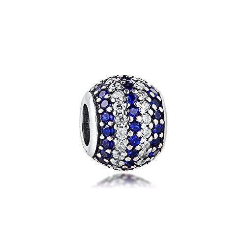 LISHOU Mujeres 925 Joyería De Plata Esterlina Azul Náutico Pave Stripes Charms Beads Fit European Pandora Pulseras Collares DIY Fabricación De Joyas