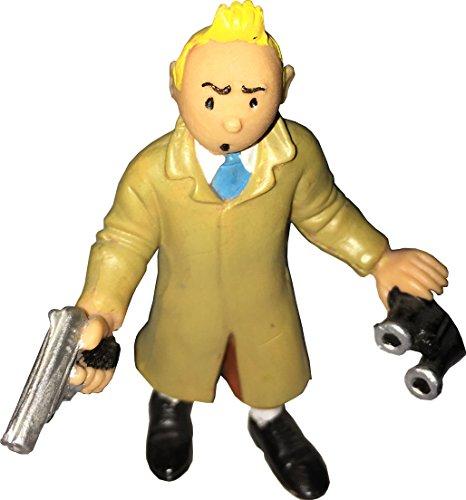 Tim und Struppi Kunststoff-Figur von Comic Spain - ca. 7cm - Tim mit Pistole und Fernglas