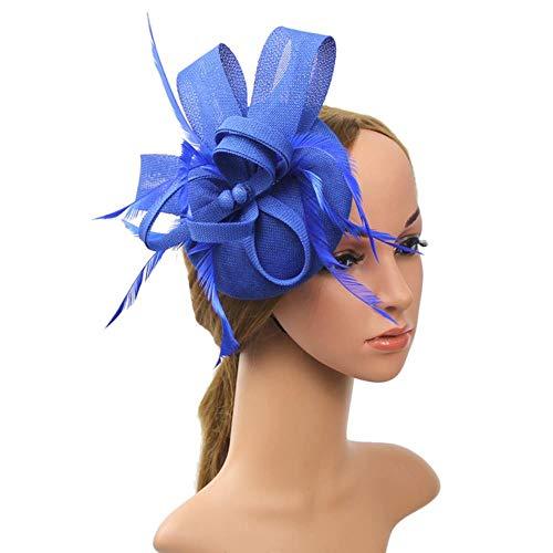 FHKGCD Mujeres Cinta De Malla Bowknot Fascinator Flor Pluma Sombrero Diadema Pinzas para El Cabello Velo Fiesta De Boda Malla Tocado, Azul,