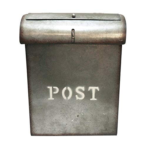 NACH Vintage Wall Mounted Rustic Metal Mailbox with Locking Lid, Emily, 10.6 x 3.93 x 13.9 Inches, Metal, FZ M1000