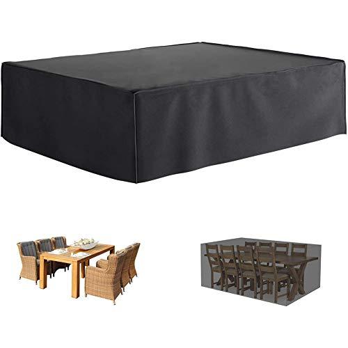 Geling Funda para Mesa Jardin, Cubierta de Muebles de Jardín Impermeable 210D Poliéster Resistente al Polvo Anti-UV Funda Protectora para Muebles de jardín,270×180×89 cm/106×70×35'
