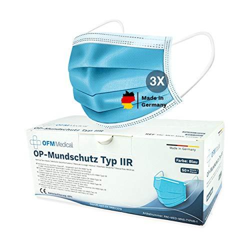 P.A.C. OFM Medical OP-Mundschutz Typ IIR 50 Stück,Medizinischer Mundschutz Maske, CE Zertifiziert, Atemschutz Maske, Mund Nasen Maske, höchste Filterstufe, BFE 99%