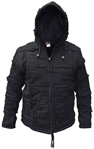 Gheri - Chaqueta con capucha para hombre (lana), diseño de elfo Negro Parche negro. M
