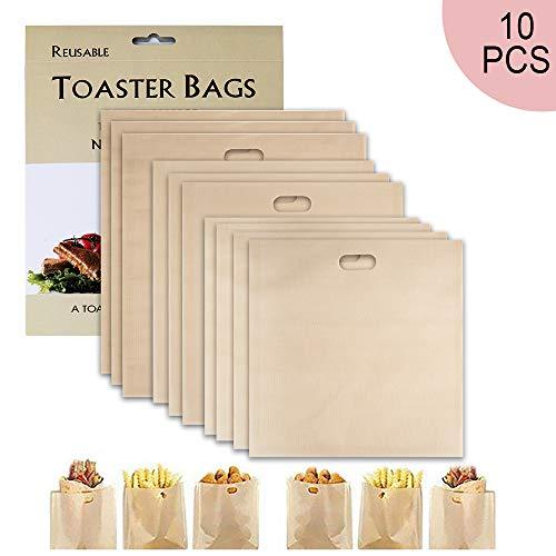 SenPuSi Wiederverwendbare Toastabags, Non-Stick Waschbar 10 Stück Teflon Toaster Beutel für Toast Sandwich Panini Snacks, Sandwich-Bag Anzug für Mikrowelle Grill Toaster LFGB Zertifizierung
