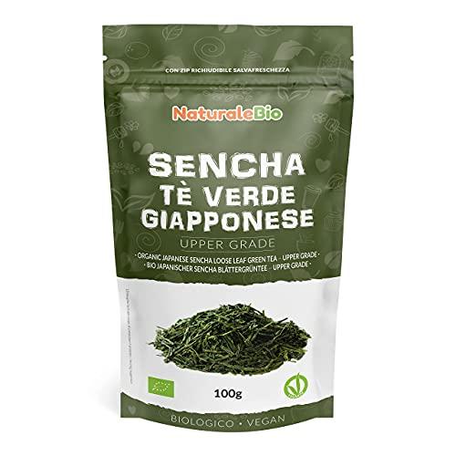 Tè verde Sencha Giapponese Biologico - Upper Grade - da 100g. 100% Bio, Naturale e Puro, Thè verde in foglie di primo raccolto coltivato in Giappone