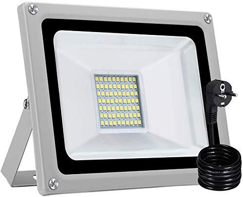 LED Strahler mit EU Stecker, Superhell LED Fluter IP65 wasserdicht Außenstrahler Flutlichtstrahler Aluminium Scheinwerfer Licht für Garten Garage Sportplatz (Kaltweiß, 30W)