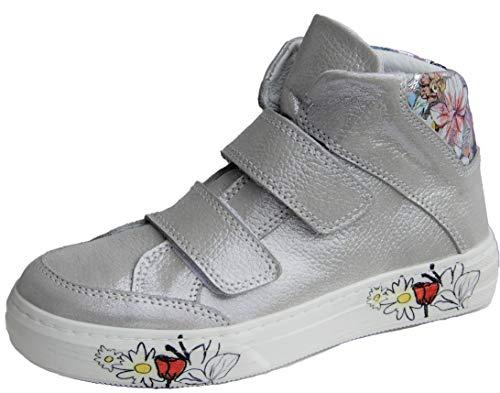 ennellemoo® Mädchen-Kinder-Boots-Halbschuhe-Sneaker. Echt Leder-Schuhe-Klettverschluss. Premiumschuhe - Vollleder. (Silbergrau, Numeric_35)