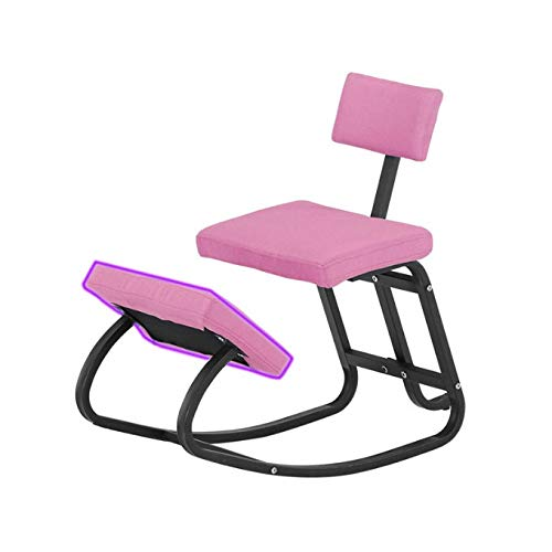 GYBGY Home Office Ergonomic Kneeling Chairs Balance Kneel Stool Rocking Kneeling Chair for Perfect Posture Kids Children with Backrest (Color : Pink)