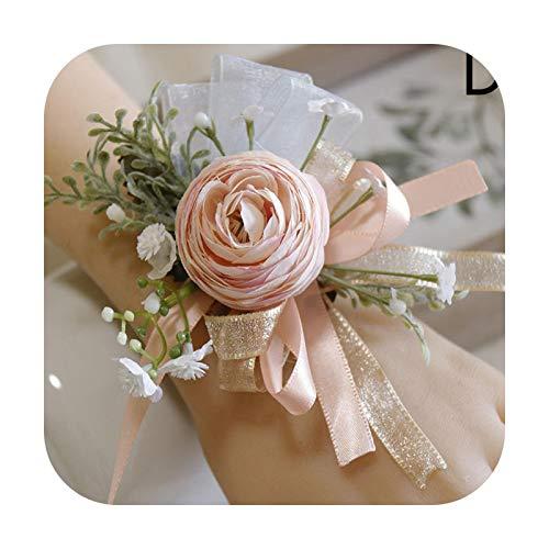 Art Flower Pulsera de muñeca con cinta ajustable para bodas, novias, damas de honor, diseño floral, ideal para ceremonia, fiesta, matrimonio, graduación, flor, D