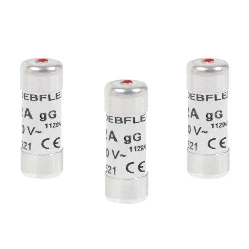 Debflex 715286 Fusible électronique - Fusible céramique - Fusible avec Voyant - Fusible 10A - Sachet De 3 Fusibles avec Voyant 8,5 x 23 10A 230V, Gris