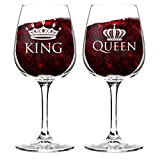 King and Queen Wine Glass Gift Set of 2 (12.75 oz) | Fun Novelty His and Hers or Husband Wife...