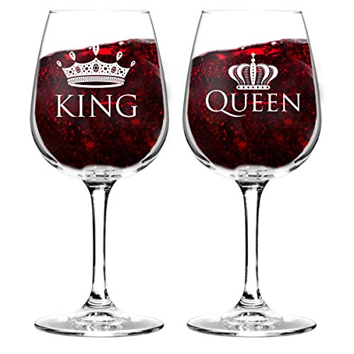 King and Queen Wine Glass Gift Set of 2 (12.75 oz)   Fun Novelty His and Hers or Husband Wife Drinkware   Couple, Newlywed, Anniversary Gift   Wedding Present or Favorite Couples Gift   USA Made
