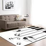 YDyun Alfombras Dormitorio Modernas - para Comedor, Dormitorio, Pasillo y Habitación Alfombra Creativa de la Sala de Estar de Las Teclas del Piano.