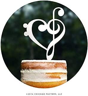 Decoración para tarta con forma de clave de sol y corazón dorado (T065)