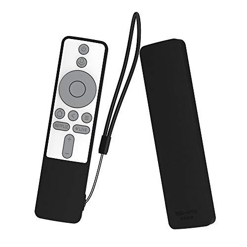 SIKAI CASE Ajusta Proteger el Mando Compatible con Xiaomi TV Box S/Xiaomi Mi TV Stick Remoto, Funda de Silicona Resistente a Golpes, Arañazos Shockproof Adapta,Protege de Caidas (Negro Blanco Gris)